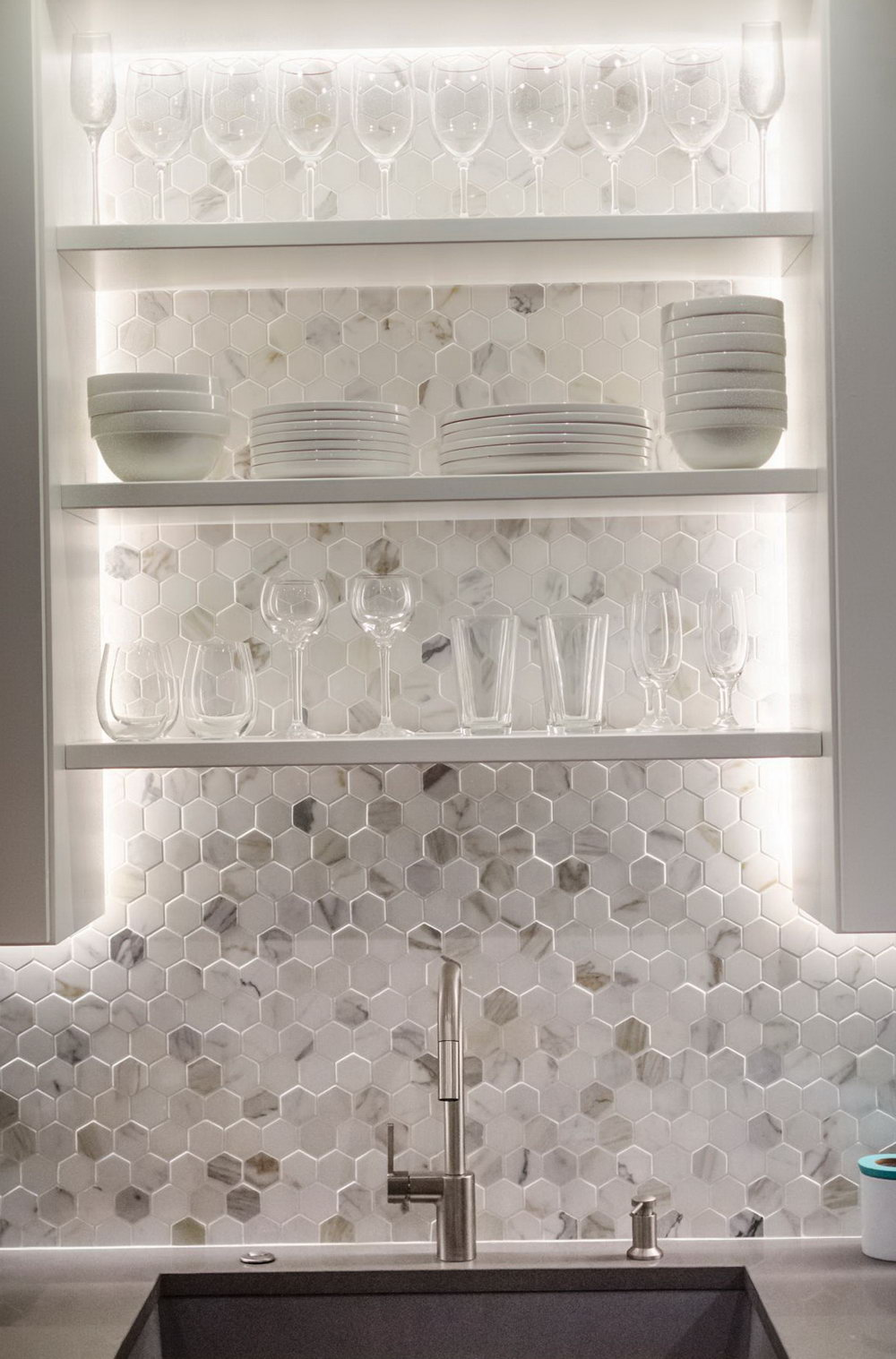 Hexagon Gl Tile Backsplash